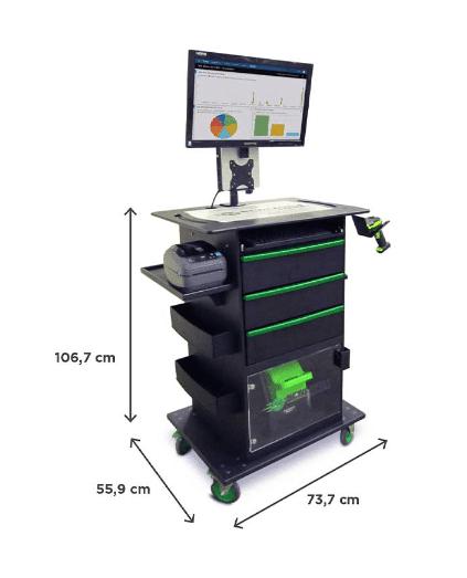 Mobiler Arbeitsplatz der QC-Serie mit Wechsel-Akku-System